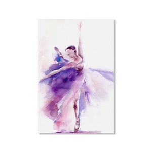 Abstract Art Poster Print Purple Ballerina Canvas Painting