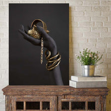 Load image into Gallery viewer, Black and Gold Hand Bracelet Oil Painting on Canvas African Art