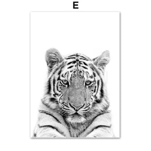 Black And White Animal Wall Art Canvas Painting