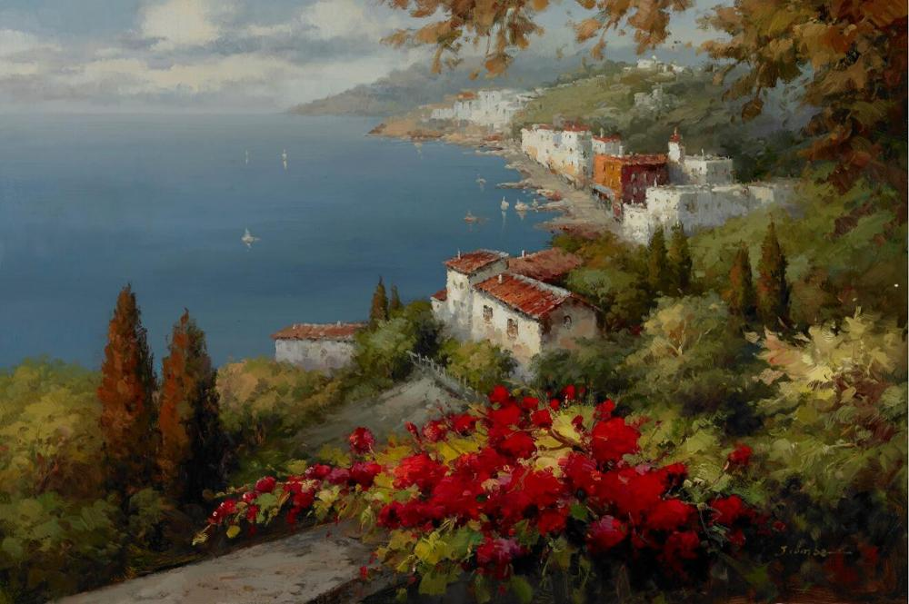 Poster and Prints Mediterranean Sea Garden Landscape Oil Painting on Canvas