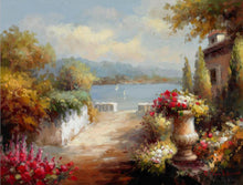 Load image into Gallery viewer, Poster and Prints Mediterranean Sea Garden Landscape Oil Painting on Canvas