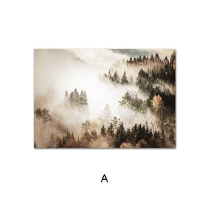 Scandinavian Poster Foggy Mountain Forest Nature Landscape