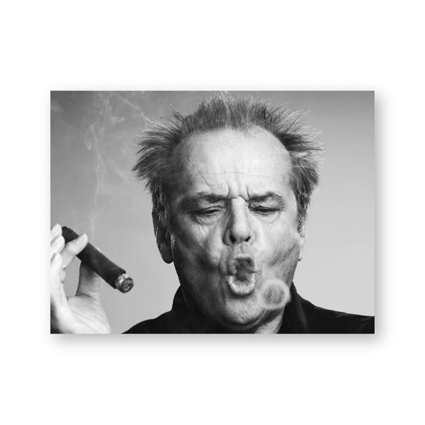Jack Nicholson Cigar Poster Wall Art Print Picture Black and white Canvas