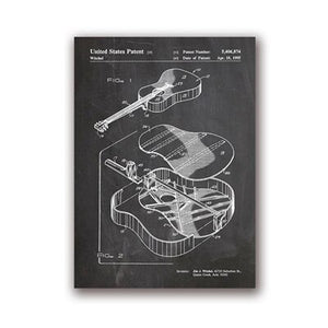Martin Guitar Patent Blueprint Wall Art Canvas