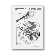 Load image into Gallery viewer, Martin Guitar Patent Blueprint Wall Art Canvas