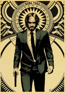 Newly Movie John Wick Vintage Poster kraft paper Wall Stickers Retro Poster Prints For Bar And Home Decor