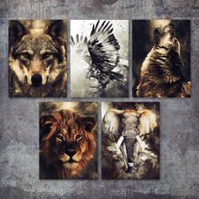 Load image into Gallery viewer, Watercolor Wolf Lion Eagle Elephant Wall Art Canvas Painting