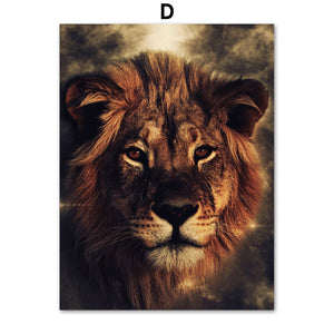Watercolor Wolf Lion Eagle Elephant Wall Art Canvas Painting