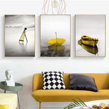Load image into Gallery viewer, Abstract Calm Lake Landscape Yellow Wall Art Canvas