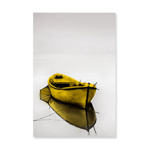 Abstract Calm Lake Landscape Yellow Wall Art Canvas