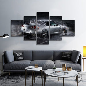 5pcs Nissan GTR Luxury Car Poster Canvas Wall Art Painting for Living Room Wall Decor