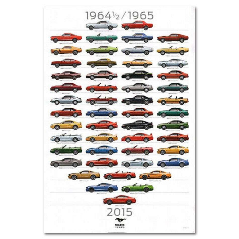 Ford Mustang Anniversary Car Evolution Silk Poster Art