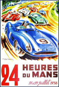 Hours Le Mans 1956 French Car Racing Vintage Style Car Silk Cloth Poster