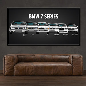 Modern family poster retro classic BMW car canvas
