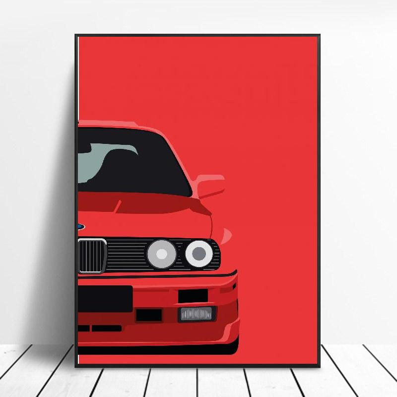Classic 90S Cars Canvas Painting Art Print Poster Picture Wall