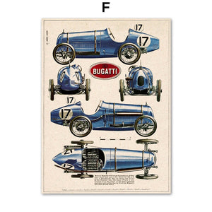 Wall Art Canvas Painting Classical Racing Champion Car Bugatti