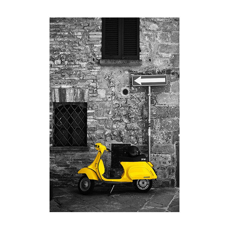Nordic Retro City Landscape Yellow Car Road Canvas Painting