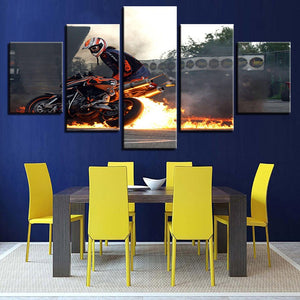 Five Panel Room Wall Decor Motorcycle Home Art Painting