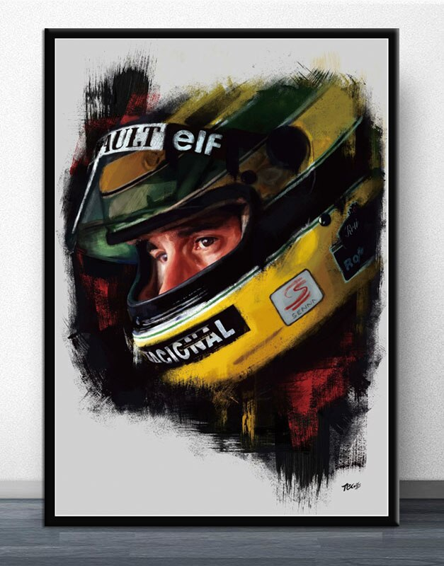 Ayrton Senna F1 Formula Painting Legend  Race Car Poster Wall Art Canvas Prints