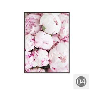 Pink Peony Flower Canvas Painting Wall Art