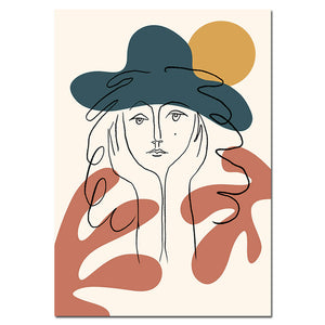Abstract Women Face Matisse Line Drawing Poster & Prints