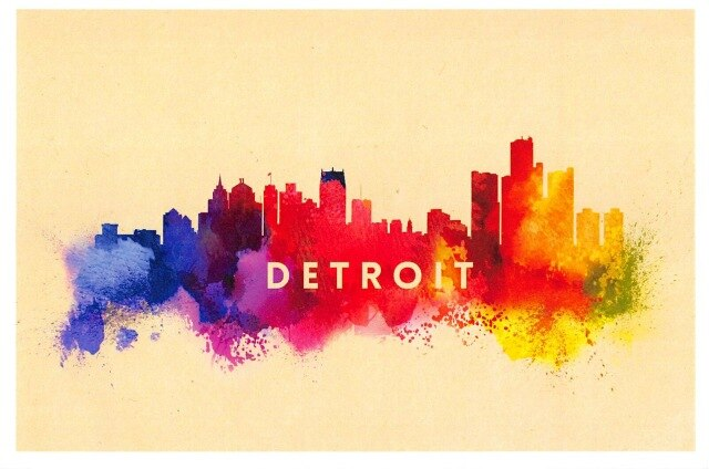 Abstract Skylines Canvas Painting - Detroit
