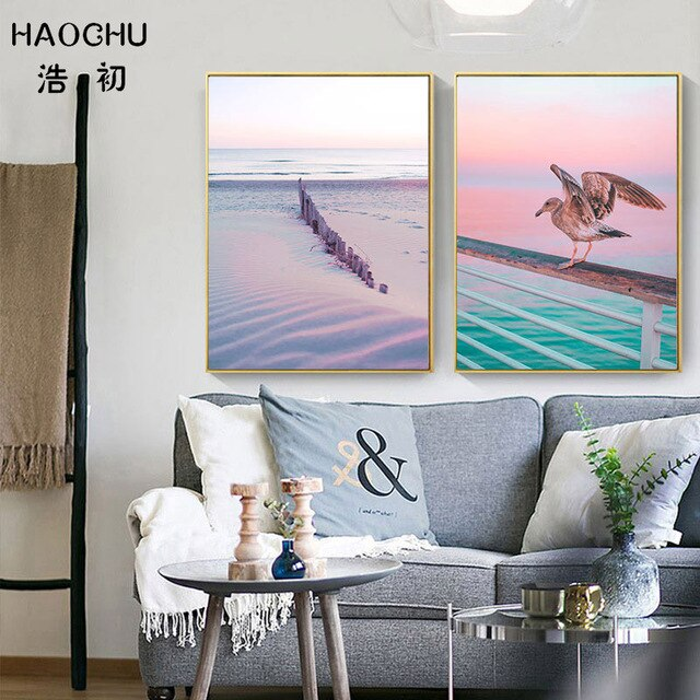 Pink Ocean Landscape Canvas Painting Art Print Poster Set of 2