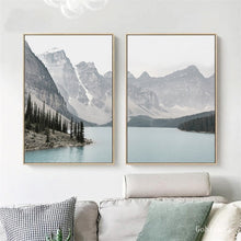Load image into Gallery viewer, Nordic Landscape Mountain Lake Canvas Paintings