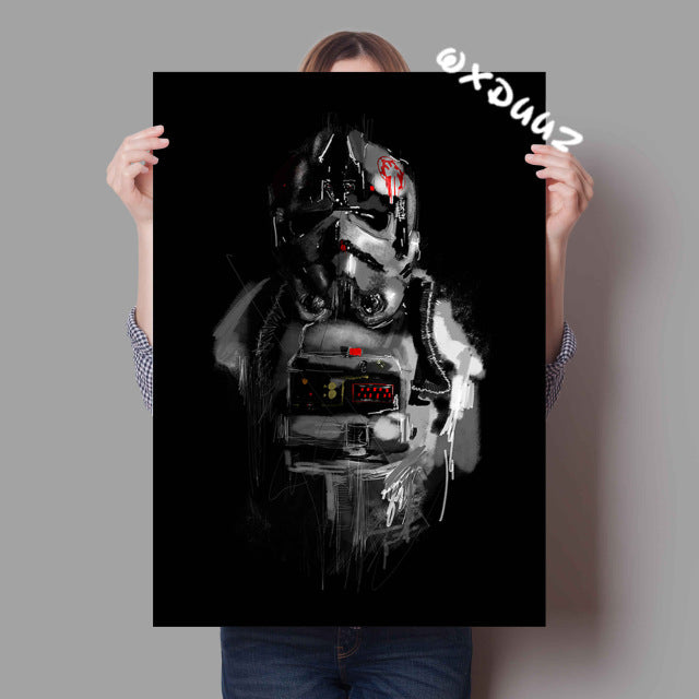 Star Wars watercolor family decorative painting poster
