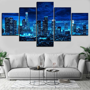 5 Pieces Cityscape Los Angeles Moon NightWall Art Poster