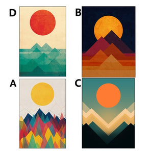 Abstract Painting Printed Sun Mountain Posters