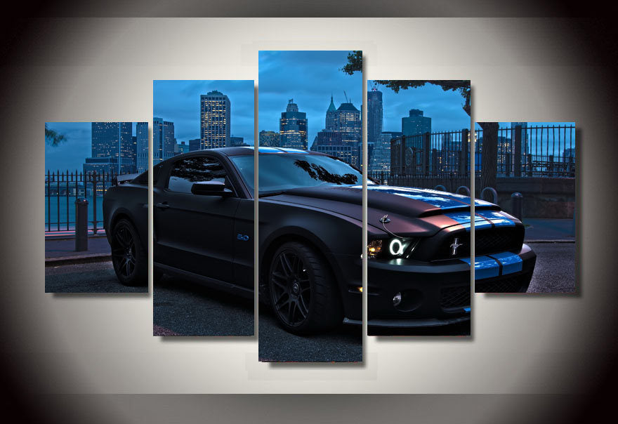 Framed Printed Ford Mustang Group Painting