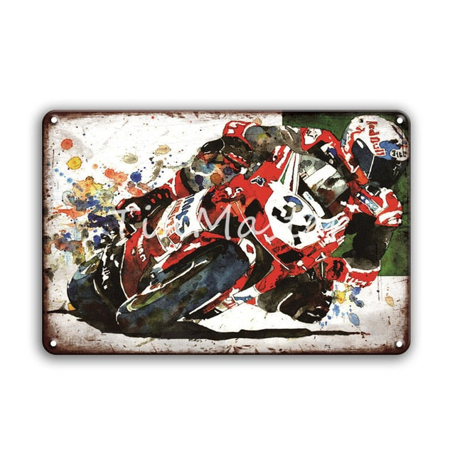 Racing Metal Sign Garage Home Decor Vintage