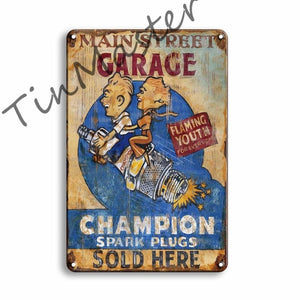 Vintage Metal Poster Tin Signs Retro Garage Man Cave Home Wall Decor
