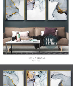 Nordic Modern Abstract Blue-gray line Wall Art Canvas