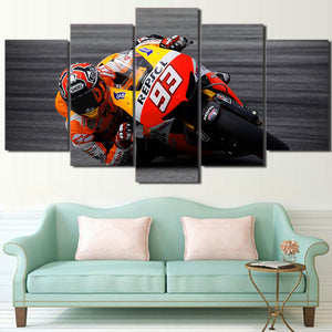 Canvas Painting Printed Modular 5 Pieces Sports Motorcycle Racing Poster Wall Art HD