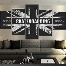 Load image into Gallery viewer, Canvas Painting 5 Pieces London Skateboarding Wall Art Poster Artwork