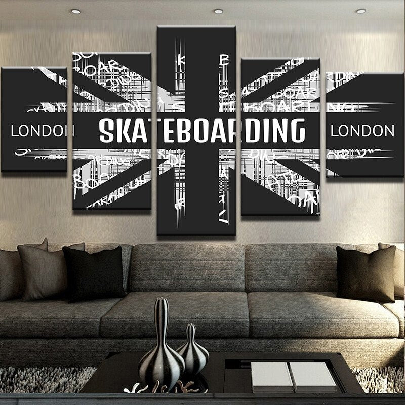 Canvas Painting 5 Pieces London Skateboarding Wall Art Poster Artwork