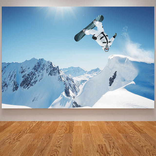 Skiing/Snowboarding Poster Canvas Art Print