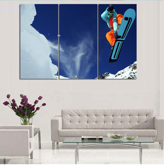 3Pcs/Set  Unframed HD decor craft about Snow sports frameless posters and prints