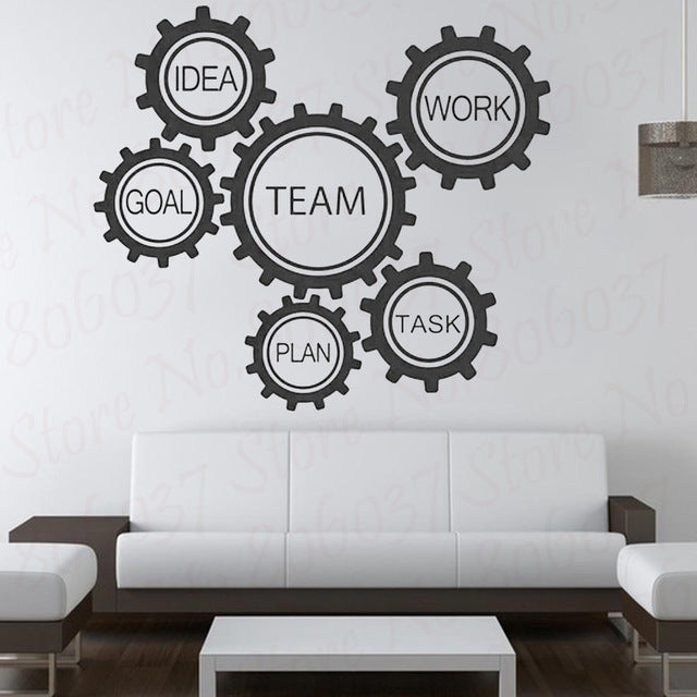 Teamwork Wall Decal Gear Mechanism Education Engineering Vinyl Wall Sticker