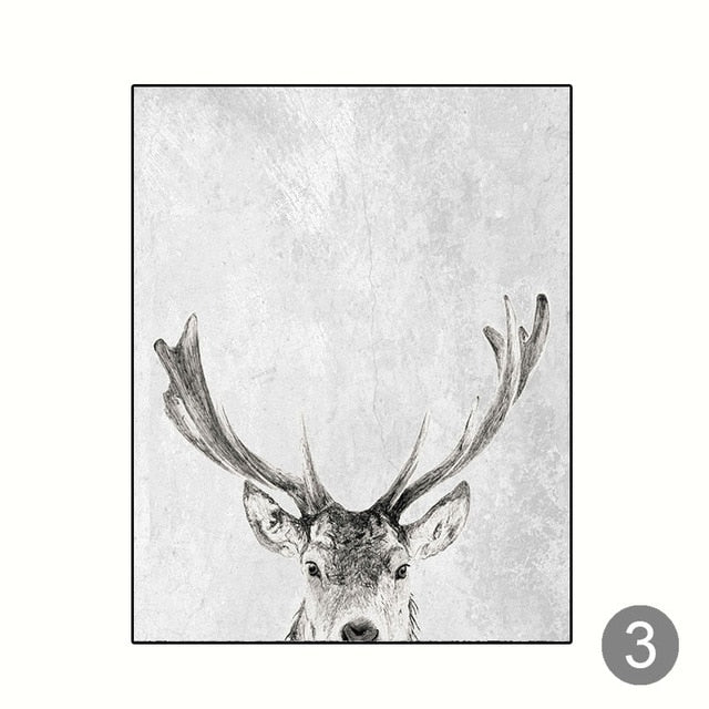 Wall Art Grey White Tree Canvas Painting - Deer
