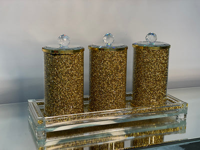 Three Glass Canister Set on a Tray, Gold Crushed Diamond Glass