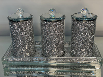Three Glass Canister Set on a Tray, Silver Crushed Diamond Glass