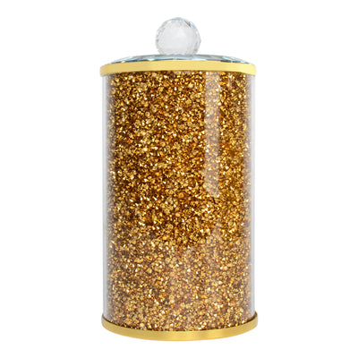 Canister in Gift Box, Gold Crushed Diamond Glass