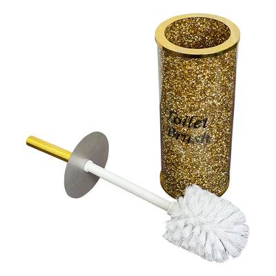 Toilet Brush Holder with Brush in Gift Box, Gold Crushed Diamond Glass