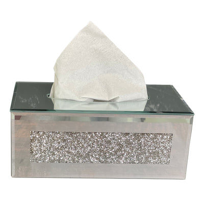 Mirrored Tissue Holder in Gift Box in Gift Box, Silver Crushed Diamond Glass Accent