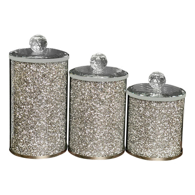 Three Glass Canister Set in Gift Box, Silver Crushed Diamond Glass