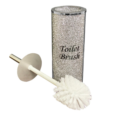 Toilet Brush Holder with Brush in Gift Box, Silver Crushed Diamond Glass