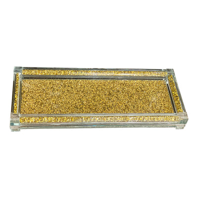 Gold Crushed Diamond Glass Tray in Gift Box